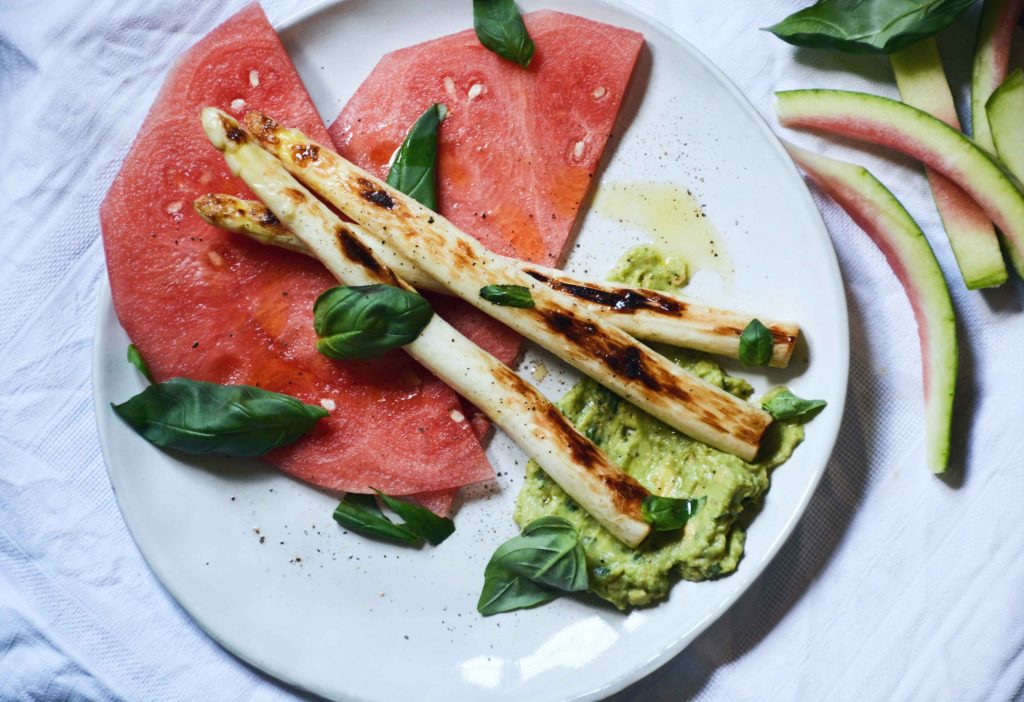 avocado-watermelon-grilled-asparagus-basil-carpaccio