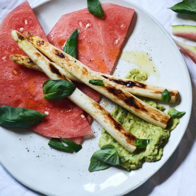 avocado-watermelon-grilled-asparagus-basil-carpaccio