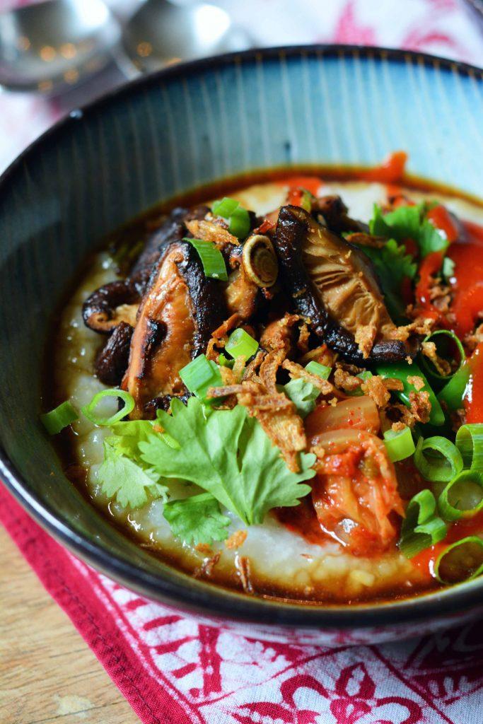congee-shiitake-kimchi