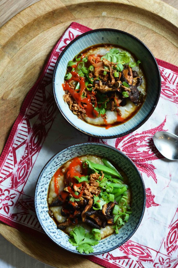 congee-shiitake-mushrooms-sugar-snaps-kimchi
