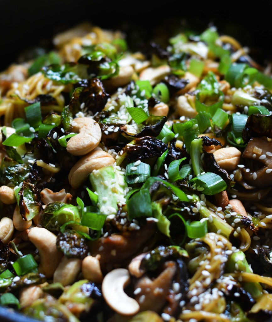 hoisin-noodles-brussel-sprouts-broccoli-mushrooms