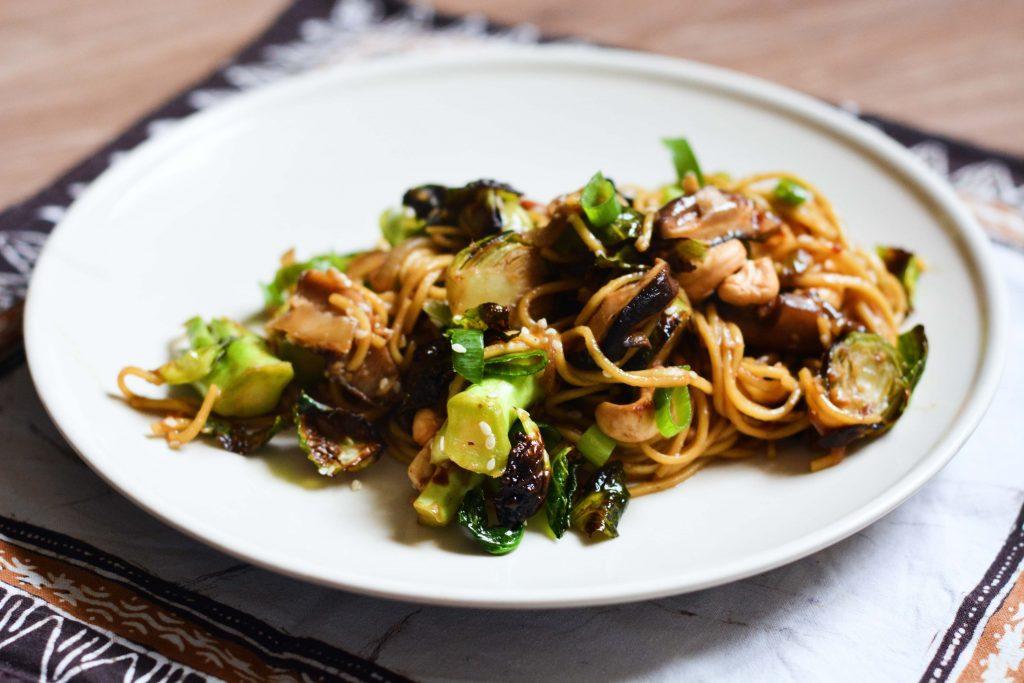 hoisin-noodles-brussel-sprouts-mushrooms