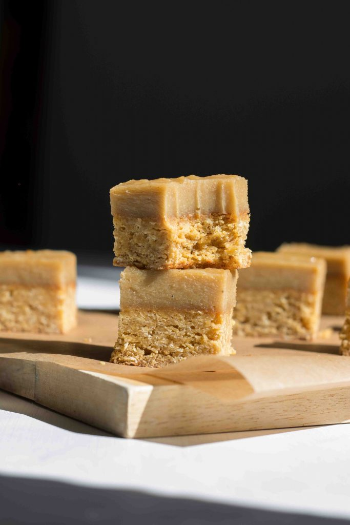 ginger crunch slice with bite marks