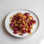 saffron raspberry rose dessert salad with almonds